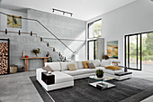 White sofa combination in high-ceilinged open-plan interior with staircase on back wall
