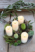 DIY Advent wreath with succulents and olive branch