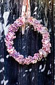 Wreath of hydrangea blossoms