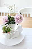 Pink dahlias as a table decoration