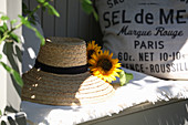 Straw hat with sunflowers
