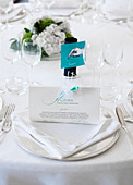 Wedding table with a white place setting