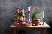 Bouquets of wild Carthusian pinks, grasses and a bouquet of carnations