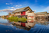 Traditional stilt house at Inle Lake in Myanmar in the Shan State of former Burma