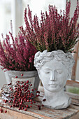 Autumn arrangement of rose hips, heather and antique-look planters