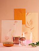 Triptychon mit botanischen Motiven in Gelbtönen