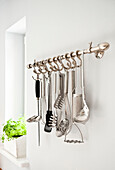 Kitchen utensils on the wall, Kitchen furnished in country style, Hamburg, Germany