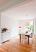 Dining room with dining table, House furnished in country style, Hamburg, Germany