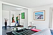 Wohnzimmer, Wohnhaus im Bauhausstil, Hamburg, Deutschland
