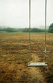 A empty childrens' swing in a field., Long Beach, Washington, USA