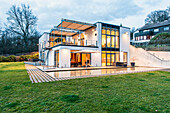 Bauhaus villa at dusk, Sauerland, Germany