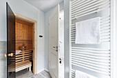 Sauna in a house in Heiligenhafen, Schleswig-Holstein, Baltic Sea, North Germany, Germany, with property release