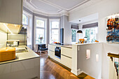 kitchen in a art nouveau apartment with modern facilities, Hamburg, north Germany, Germany
