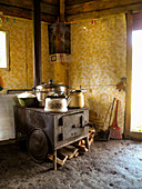 stove, oven with pots and pans, Altai, Siberia, Russia