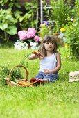 Kleines Mädchen mit Möhren auf Gartenwiese