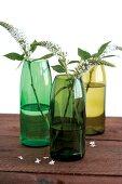 Grüne Flaschen als Blumenvasen