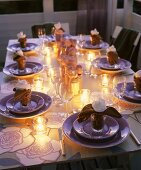 Romantic table with tealights (evening)