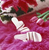 Slippers on a rug