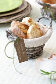 Bread basket with ciabatta and a sign