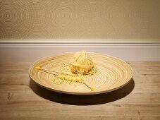Knitting needles and a ball of spaghetti