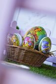 Easter eggs in basket (to give as gifts)