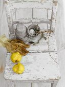 Quinces, gloves and other utensils on a wooden chair