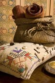 Folkstyle pillows and basket with covers