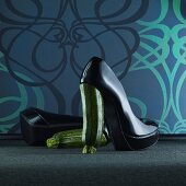 Shoes with courgette heels