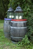 Lanterns on wooden barrels