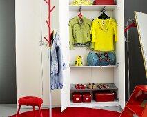 Wardrobe and cupboard with open door