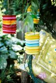 Colourful lanterns hanging in a tree