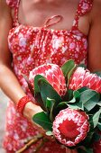 A woman holding a bunch of protea flowers