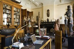 An African art collection in a study in a villa