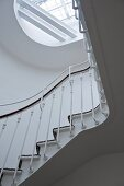 A stairway in a period building - a view of the skylight