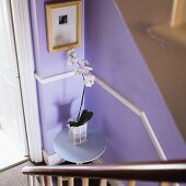 An orchid on a table on a half landing in front of a lilac-painted wall