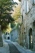 An old French village with natural stone house along the street
