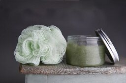A bath sponge and bath salt (close-up)