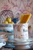 Spaghetti in a ceramic cup