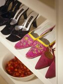 Collection of womanÕs shoes on shelf