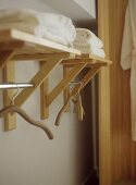 Coat hangers hanging from chrome rail with shelf above