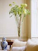 Sitting room with white panelled walls, antique china vase and flower arrangement.