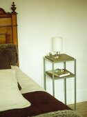 Wood and metal bedside table with lamp