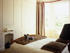 Dog on double bed facing built cupboards and wardrobes