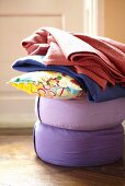 Yoga cushions and blankets