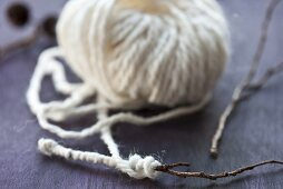 Wool wrapped around a twig