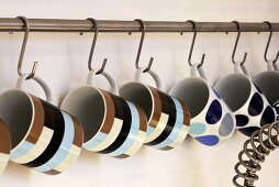 Cups hanging on hooks