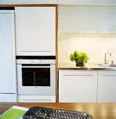 Detail of a kitchen with white cupboard and fitted appliances
