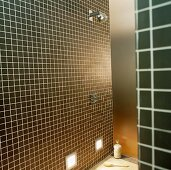 Brown tiles in a shower