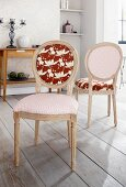 Baroque, beech wood chairs upholstered in various fabrics