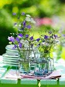 Summer flowers in drinking-glass vases in glass holder